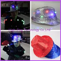 Wholesale New arrival Fashion colorful LED Light Hat Party Hats Boys and Cap Baseball Caps Fashion Luminous jazz hat free ship