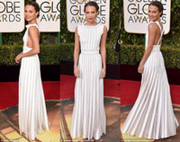 award belts - 2016 Golden Globe Award Alicia Vikander ivory Fashion Reda Carpet Dresses Sexy Back A Line with Belt rd Golden Globes Celebrity Wear