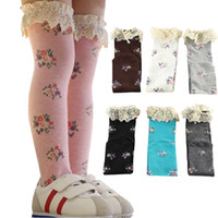 Wholesale knee high Lace Ruffles baby leg warmers Floral Design girl legging socks knee pads for baby cotton kids long socks Baby Socks