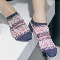 anchor socks - Fashion Sprring Summer National Personality Ankle Cotton Casual Anchor Sock Slippers Men Five Colors New