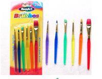 artist gift sets - 6pcs set Body Paint Brushes Short Handle Set Art Supplies Makeup Tools Nylon Hair For Artist Painter Kid Painting Gift Flat Penselen