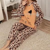 fire fox - Leopard fire fox pajamas sets for women knitted pyjamas sleepwear two pieces sleepwear nightwear long sleeve indoor lounge suit nightclothes