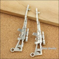 antique rifles - 10 Vintage Charms Sniper rifle Pendant Antique silver Fit Bracelets Necklace DIY Metal Jewelry Making B083 jewelry making DIY