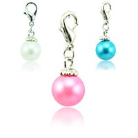 dangle charms - Hot Sale Fashion Charms Alloy Lobster Clasp Dangle Color Pearl DIY Jewelry Accessories Mix Order