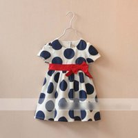 boutique clothing - New Girls Bow Princess Dress Sweet Summer Polka Dots Butterfly Short Sleeve Party Dress Kids Dress Baby Boutique Clothing