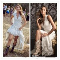 Wholesale 2016 Vintage Sexy Sheer V Neck High Low Wedding Dresses Capped Sleeve Pleats Country Style White Lace Bridal Gowns