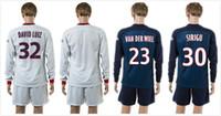 Wholesale 15 Marseille long sleeve soccer jersey short Marquinhos Javier Pastore home white shirt Lucas Moura set