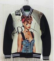 baseball posters - Brand New Men s jacket Coats D stereoscopic posters Rihanna printing Space cotton jacket Baseball uniform