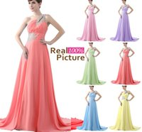sky blue wedding dress - In Stock Coral Long Bridesmaid Dresses Cheap Sheer One Shoulder Bead Corset Chiffon Pink Sky Blue Lilac Yellow Prom Wedding Party Gowns