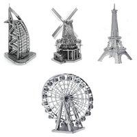 al wheels - High Quality Eiffel Tower WINDMLL Ferris Wheel Burj Al Arab Hotel Metal Model DIY Jigsaw D Puzzles