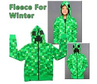 Wholesale Creeper Hoodie MINECRAFT Hoodie Creeper Coat Creeper jacket JJ Pattern US youth size for kids boys Cotton Sweater Sandbox game