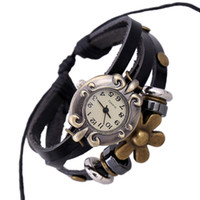 Wholesale Leather watch with flower Pendant for Men and women leather beaded bracelet Wristwatches set