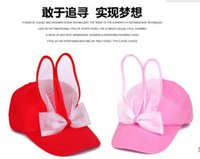 baseball rabbit - pieces High Quality New Fashion Casual Women adjustable Hat Korean Style Cute rabbit Bunny Ears Bow Baseball Caps sun hat
