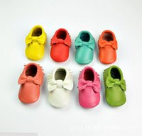Wholesale New Fashion Baby Shoes First Walker suede genuine Leather bowknot Newborn Sapato Baby Moccasins Kids Girls Shoes