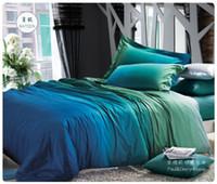 al por mayor edredón tamaño queen conjunto verde-Al por mayor-Azul sistemas del lecho del gradiente verde queen king size edredón edredón cubre cama de las hojas en un sábanas de lino colchas bolsa de algodón 100%