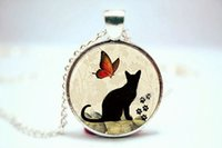 american birds photos - 10PCS Playful Kitty Cat Pendant with Birds and Butterflies Necklace Glass Photo cabochon necklace