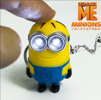 Wholesale Cartoon Key Chain Despicable Me D Eye Small Minions Figure Kid toy Keychain Chaveiro llaveros Ring Flashlight Torch LED Sound Toys