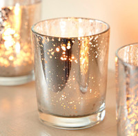 Wholesale 2 Inch Tall Glass Mercury Wedding Candle holder in Silver Color wending decoration free shiipping