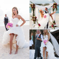 Wholesale Cheap Organza Ruffles High Low Beach Wedding Dresses For Beach Bride Sweetheart Sleeveless Backless A Line Wedding Dress In White