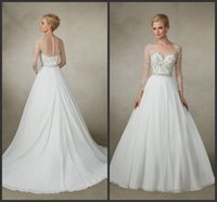 band jane - Victoria Jane A Line Wedding Dresses Jazz Sheer Scoop Neckline Illusion Long Sleeves Back Chiffon Beaded Band KR Bridal Gowns