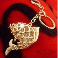 Wholesale Korean jewelry quot carp big splash quot hollow full of diamond carp keychain