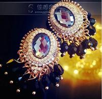 Wholesale black diamond tassels women s earings xcdxl