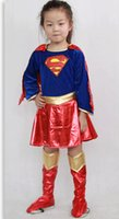 Wholesale Girls costumes performing Superman Man clothing Children s Superman tights high grade gold velvet suit JIA182