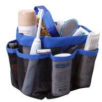 Wholesale Blue Fuchsia Bathroom Shower Storage Caddy Pockets Mesh Bag Bath Soap Makeup Organizer Holder