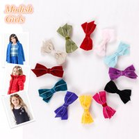 double ribbon - Velvet Material Bowknot Hair Clips Double Ribbon Headwear Soft Color for Princess New Design Autumn and Winter Style Charm Bow hairpins