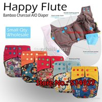 bamboo fitted diapers - Happy flute onesize AIO diaper with two opening with a bamboo charcoal insert fit babies kg