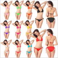 Wholesale Sexy Womens Bikini Set Bra Swimsuit Bathing Suit Swimwear Hanging Neck Design Perfect Bikini Swimsuit DM005