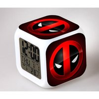 best kids alarm clock - 2016 New Marvel Deadpool Colorful gradients digital alarm clock toy LED electronic action figure toys for kids home Best gift