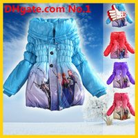 Wholesale Newest Girls Frozen Coats Cute Kids Girls Warm Coat Winter Children Cotton Jacket thick Cotton Padded Clothing