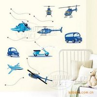 airplane wall decorations - Wall stickers home decoration creative wallpaper mural wall stickers bedroom background wall stickers cartoon airplane Sticker J