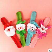 Wholesale Christmas Gift Xmas Santa Claus Snowman Toy Slap Pat Circle Bracelet Wristhand Christma Tree Decoration Funny Hand Toys Muti Color B1B3F9