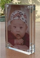 acrylic block photo frame - 6X8 quot Transparent Acrylic Perspex Photo Picture Frame Block With Magnetic Plexiglass Photo Frames To Display Your Pictures PF003
