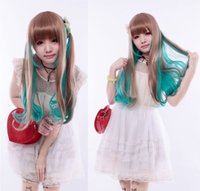 Wholesale Long curly cosplay wigs Synthetic Hair wigs light blue and brown mix colors hair wigs Lolita cosplay wig
