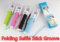 folding stick - Folding Selfie Stick Wired Groove Monopod Built in Shutter Extendable Selfie Stick For iPhone Samsung Any Phones Camera with retail pacakge