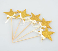 baby shower cupcake toppers - 24pcs Glitter Gold Star Toppers Picks Birthday Party Decorations Baby Shower Cupcake Toppers Food Picks