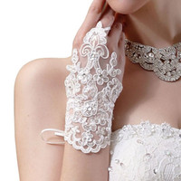 Wholesale Cheap Fingerless Gloves Lace Ivory White Wedding Gloves Beaded Applique Wrist Length With Ribbon Bridal Gloves