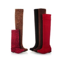 designer sheepskin boots - New Women Leopard Boots Winter Spring Ladies Flat Bottom Fashion Boots Shoes Over The Knee High Leg Long Boots Brand Designer SC16 S01