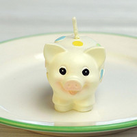 Wholesale Cute Candy Color Children Happy Birthday Party Smokeless Cute Pig Candle Charming Gifts Gifts Sunshine