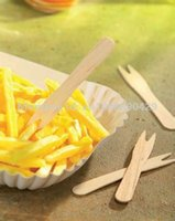 Wholesale Disposable Wooden chips fork cm French fries Flatware cutlery Eco Friendly party weddings ice cream cupcake birch wood