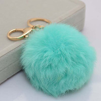 Wholesale Hot Sales CM Super Round Metal Key Chain Real Rabbit Hair Bulb Fur Plush Pom Poms Ball Bag Car Ornaments Pendant Key Ring