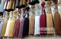 ball fringed curtains - Cheap red crystal fringed tassel smooth high end curtains hanging ball curtain tying curtain accessories