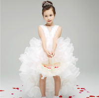 short front long back girls dress - Designer Kids Dresses White Short Front Long Back Flower Girl Dresses Ruffled Organza High Low Girls Dresses Gowns