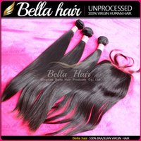 Cheap Virgin Brazilian Human Hair Weave With Silk Base Lace Closure (3.5x4) Silky Straight Natural Color 4pc Lot Free Shipping