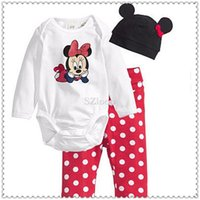 Wholesale Toddler newborn baby romper pieces clothing sets cotton one piece long sleeve hat body pant kids suits casual sets