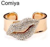 10k gold bracelet - Fashion Holiday for woman K rhinestone small decoration lip mouth bijuterias women bracelet gold plated glossy shiny bangles