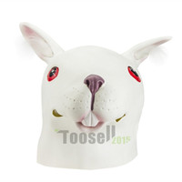 Halloween masks latex - Rabbit Mask head Halloween Animal Costume Prop Style Mask White Unicorn Dance Fashion Latex Masks